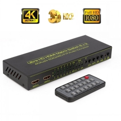 HDMI Matrix Switch (6-Input 2-Output), HDMI Audio Extractor with Remote Control, Support PIP, ARC, 4Kx2K@30Hz, 3D