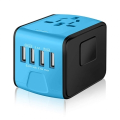 Universal International Travel Power Adapter W/Smart High Speed 2.4A 4xUSB Wall Charger