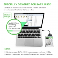USB 3.0 SATA III Hard Drive Adapter Cable for 2.5 Inch SSD & HDD with Support UASP-20cm, Black
