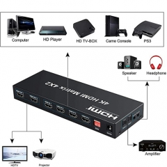 4x2 HDMI Matrix Switch,4 in 2 Out Matrix HDMI Video Switcher Splitter +Optical & L/R Audio Output,Support Ultra HD 4K x 2K,3D 1080P,Audio EDID Extractor with IR Remote Control &Power Adapter