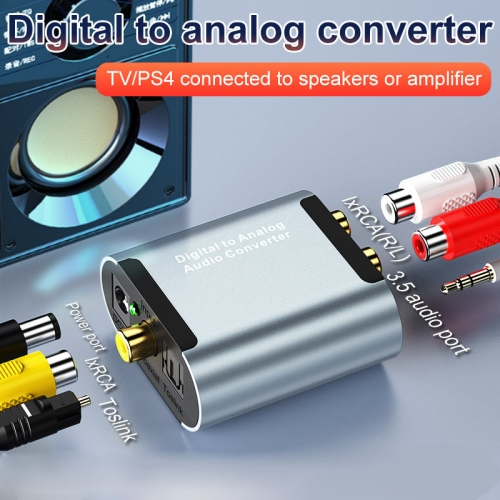 Digital to Analog Audio Converter DAC Digital SPDIF Optical to Analog L/R RCA Converter Toslink Optical to 3.5mm Jack Adapter for PS3 HD DVD PS4 Amp Apple TV Home Cinema